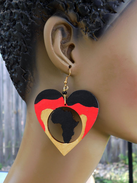 Africa Earrings Heart Jewelry Red Black Gold