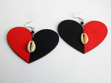 Heart Earrings Wooden Black Red Jewelry Cowrie Shell Handmade Hand Painted