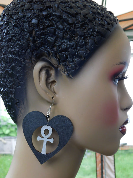 Ankh Earrings Black Silver Wooden Jewelry African Egyptian