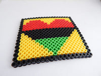Heart Coasters RBG Pan African Square Red Black Green Beaded Coaster Home Decor Set of 4