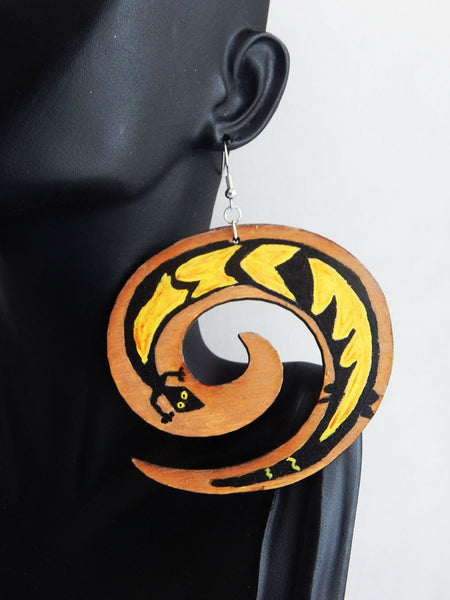 Hand Painted African Lizard Earrings, Swirl Earring
