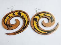 Hand Painted African Lizard Earrings, Swirl Women