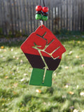 Black Power Fist Car Charm RBG  Car Accessories Red Black Green Rear View Mirror