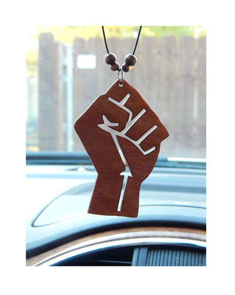 Fist Car Charm Wood Car Accessories Black Power Rear View Mirror Social Justice Pride Fight the Power BLM Black Lives Matter