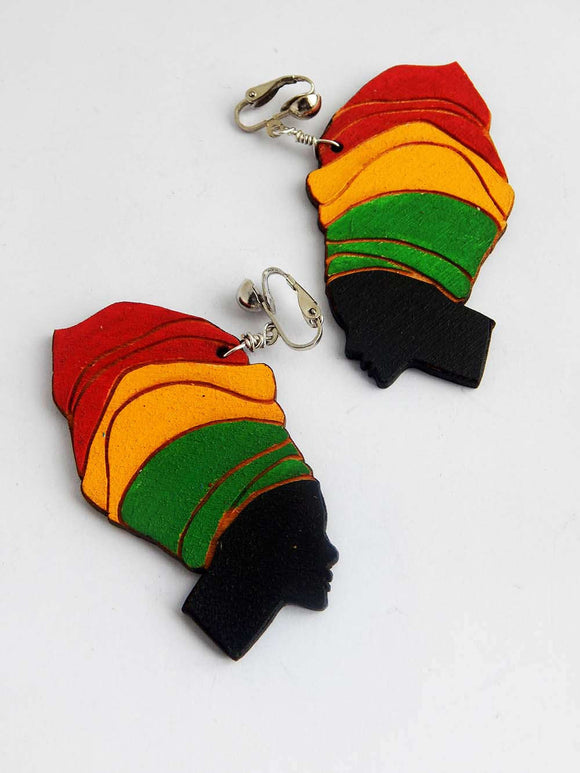 Rasta Clip On Earrings Wooden Hand Painted Earrings Red Yellow Green Headwrap Jewelry