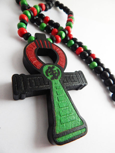 Men's RBG Ankh with red black and green beads