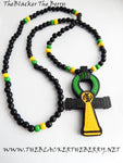Large Ankh Wood Necklace Beaded Yellow Green Jamaican Men Ankhs Pendant Jamaica Wooden Ethnic Gift Ideas for Him