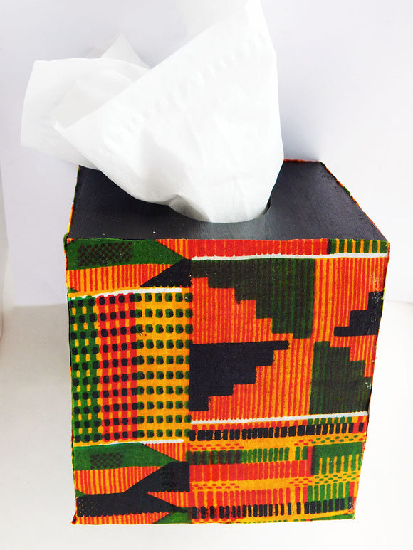 Kente Tissue Box Fabric Tissue Cover Boxes African Decor Wood