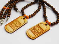 King & Prince Necklaces Beads Jewelry Father Son Wooden Orange Brown Dog Tags Handmade
