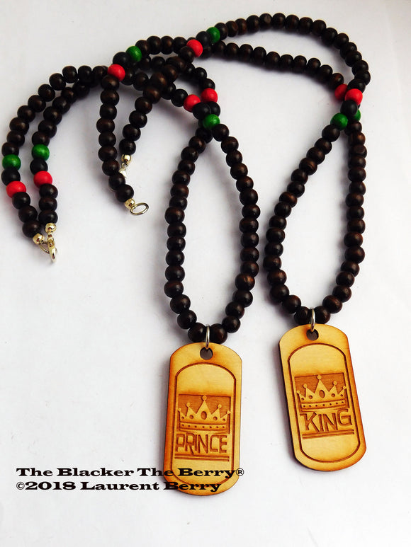 King Prince Necklaces Father Son Jewelry Beaded RBG Ethnic Pan African