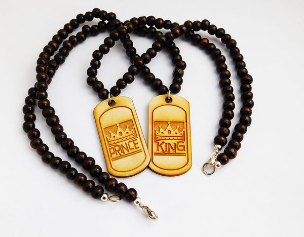 King Necklaces Prince Jewelry Wood Beaded Handmade Men Gift Ideas for Him Father Son