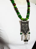 Large Ethnic Women Necklace Green Jewelry Ethnic Statement fashion