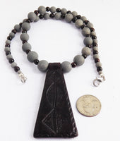 Leather Necklace Beaded Jewelry Gray Burgundy Unique Handmade