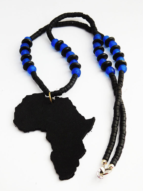 Africa Necklace Leather Beaded Black Blue Jewelry