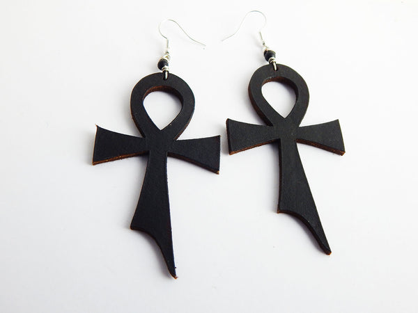 Leather Earrings Ankh Jewelry Black Egyptian Jewelry Black Owned Business