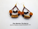 African Earrings Beaded Jewelry Leather Ethnic Women Orange