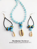 Blue Necklace Earrings Jewelry Set Women Gift Ideas
