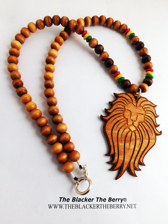 Lion Necklaces Beaded Wooden Jewelry Rasta