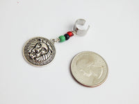 Rasta Lion Hair Jewelry Dreadlocks RBG Red Black Green Pan African Beaded Silver Hair Accessories