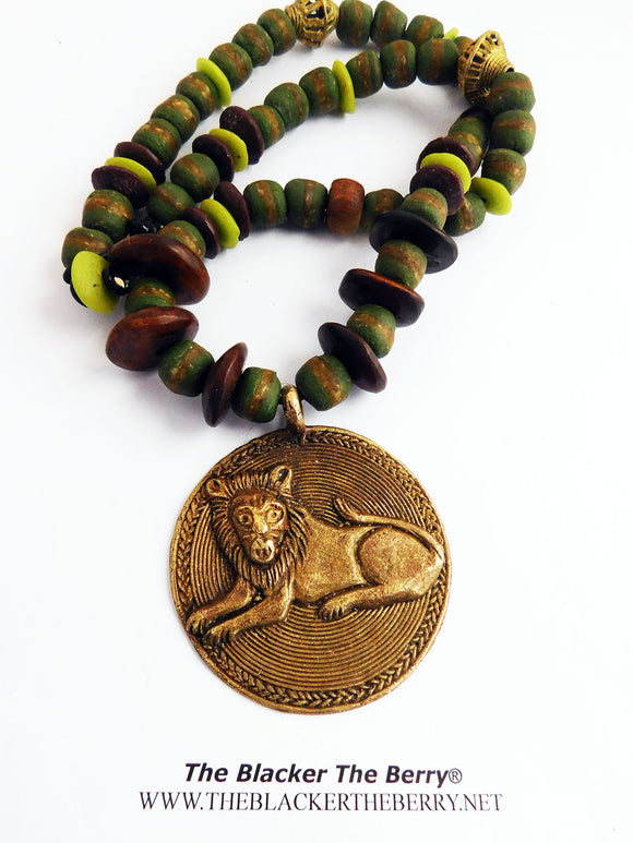 Lion Necklace King Jewelry Green Beaded Ethnic Men