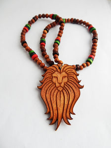 Lion Necklace Beaded Jewelry Red Black Green Wooden Afrocentric Men