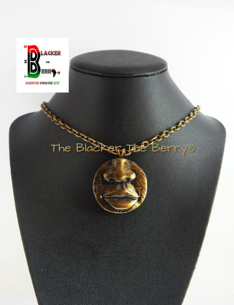 Clay African Necklace African Jewelry Tribal necklace African Pendant Face Pendant Chain Necklace Antique Gold Lips Nose Handmade Men Women