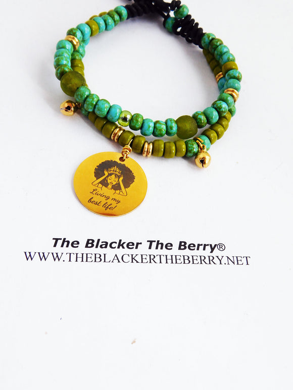 African Women Bracelet Beaded Ethic Green Gold
