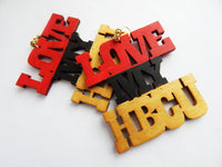 Love My HBCU Earrings Red Gold Black Jewelry Wooden
