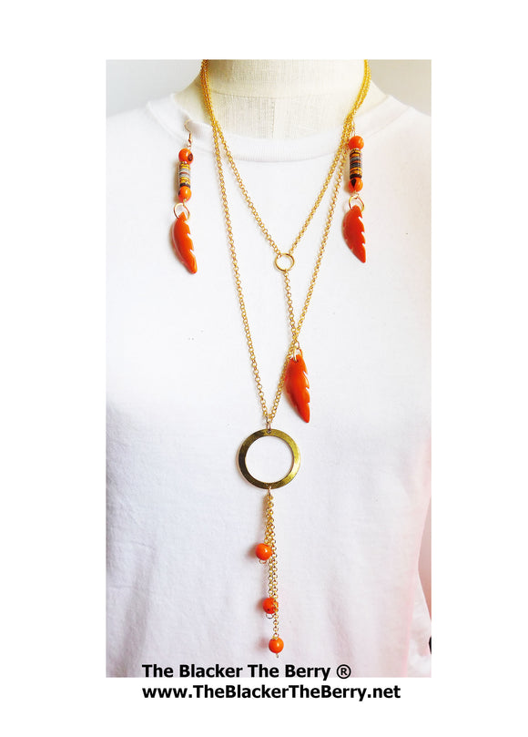 Long Necklaces Dangle Jewelry Fashion Women Gold Orange Summer