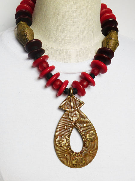 African Necklaces Large Jewelry Fashion Ethnic Tribal Red Brass Burgundy Women