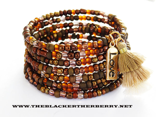 Bracelets Beaded Tassel Jewelry Love Gold Brown