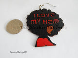 Love My Natural Hair Earrings Wooden African Jewelry for Women