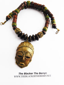 African Mask Necklace Beaded Green Jewelry Ethnic