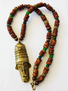 RESERVED Men African Necklaces Beaded Jewelry Art Green Brown Long Ethnic Handmade