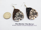 Flower Earrings Metal Silver Copper Ethnic