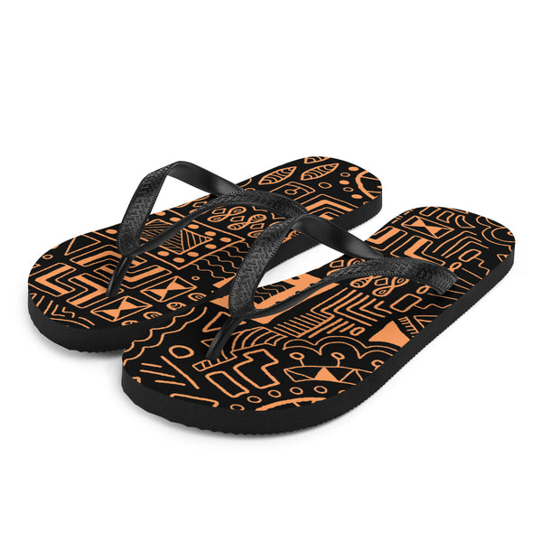 African Mudcloth style Flip-Flops