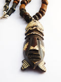 African Necklace Men Mask Jewelry Wooden Bone