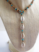 Cowrie Shell Necklace Lariat Turquoise Beaded Jewelry