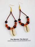 Leather Earrings Beaded Orange Ethnic African Jewelry Women