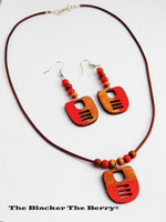 Ethnic Jewelry Set Orange Wooden Leather Earrings Necklace Women