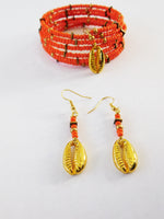 Orange Bracelet Beaded Brass Ethnic Jewelry Set Earrings