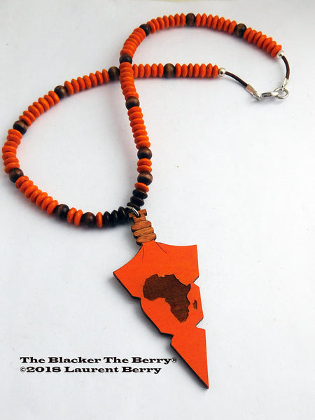 African Necklace Arrowhead Wooden Beaded Jewelry Africa Orange