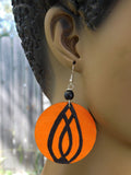 Orange & Black Earrings Hand Painted Wooden Jewelry
