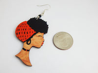 Black Art Earrings Wooden Hand Painted Orange Black Brown African American Women Jewelry