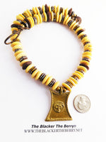 African Necklace Ethnic Jewelry Beaded Brown Cream Brass Art
