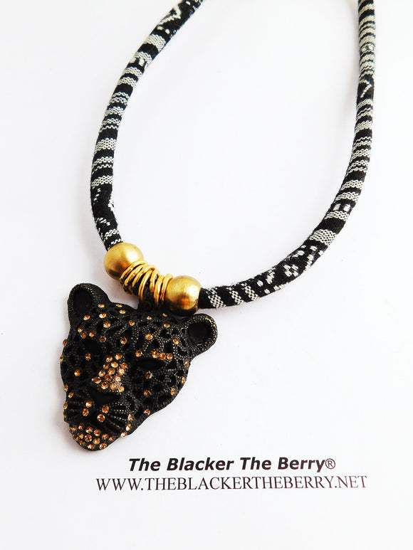 Panther Necklace Black Cheetah Jewelry Black White Brass