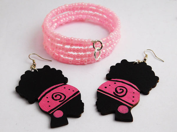 African Jewelry Pink Earrings Bracelet Black Gift Ideas Women