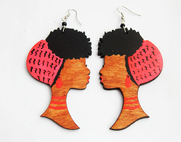 Black Women Earrings Afro Jewelry Wooden Hand Painted Pink Black Ethnic Afrocentric