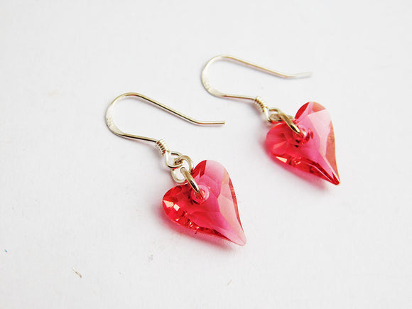 Pink Heart Earrings Sterling Silver Gift Ideas for Her Christmas