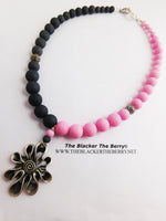 Pink Grey Necklace Beaded Gray Jewelry Silver Flower
